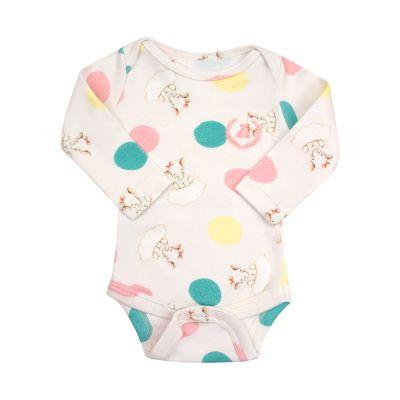 Body bebê manga longa elefantinho - Branco