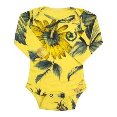 Body bebê manga longa floral - Amarelo