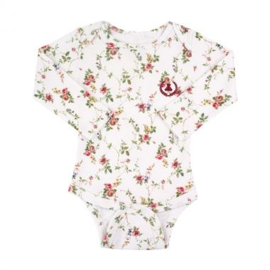 Body bebê manga longa floral - Branco