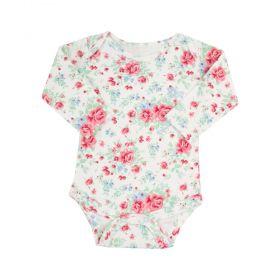 Body bebê manga longa floral - Marfim