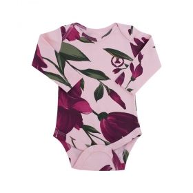 Body bebê manga longa floral - Marsala e rosa