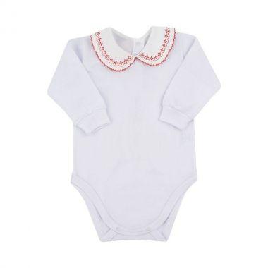 Body bebê manga longa gola com babado - Branco e vermelho