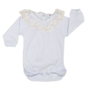 Body bebê manga longa gola de tule bordada com pérolas - Branco/Marfim
