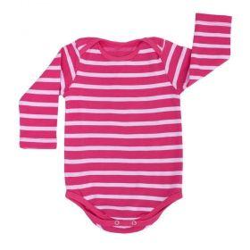 Body bebê manga longa listrado - Pink/Branco
