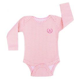 Body bebê manga longa - Rosa e branco