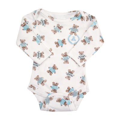 Body bebê manga longa ursinho - Branco e azul bebê