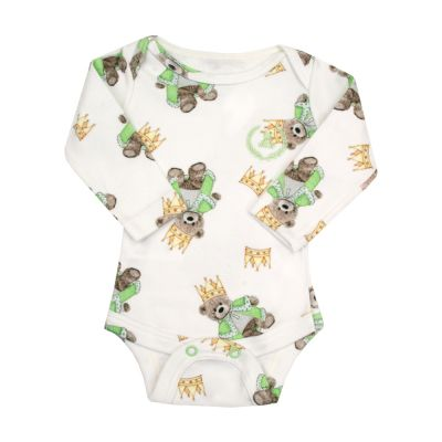 Body bebê manga longa ursinho - Branco e verde