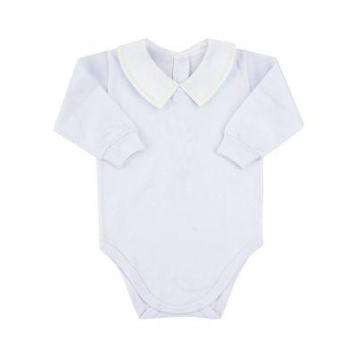 Body bebê masculino - Branco e amarelo