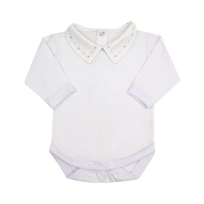 Body bebê masculino - Branco e cinza