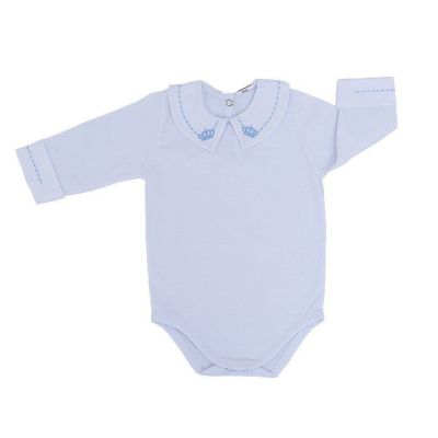 Body bebê masculino manga longa coroa - Branco/Azul bebê