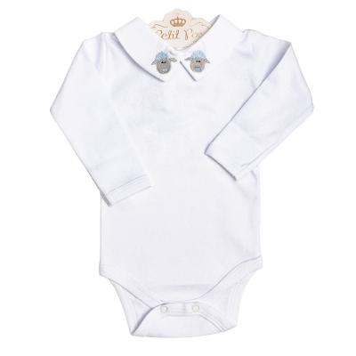 Body bebê ovelha - Branco, amarelo e azul