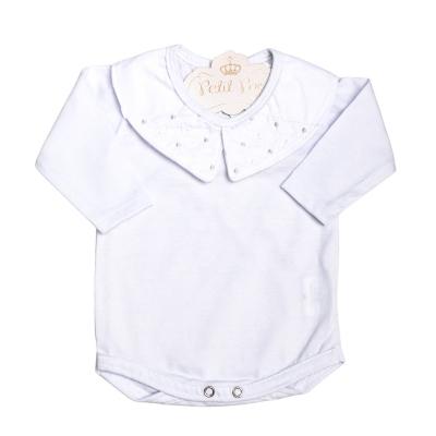 Body bebê poás - Branco e cinza
