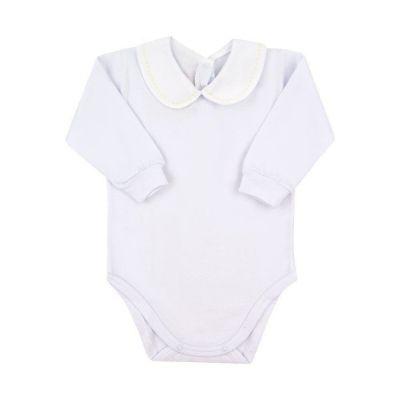 Body bebê pontinhos - Branco e amarelo