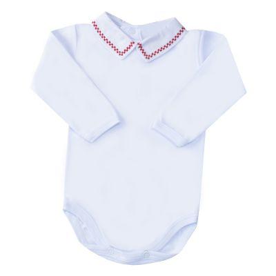 Body bebê quadradinho duplo - Branco e vermelho