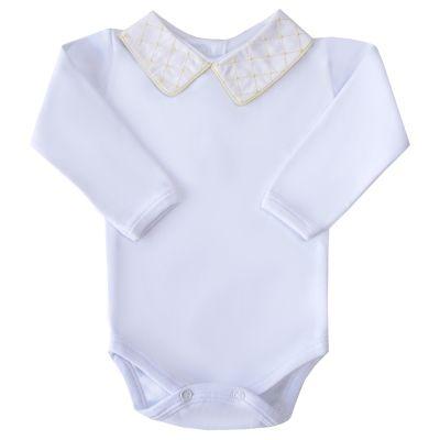 Body bebê quadriculado com vivo - Branco e amarelo