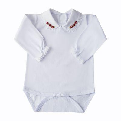 Body bebê rendinha e flores - Branco e vermelho