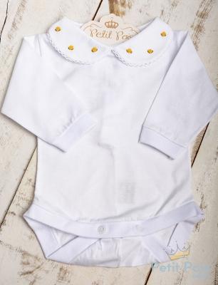 Body bebê rococó e flor - Branco e amarelo