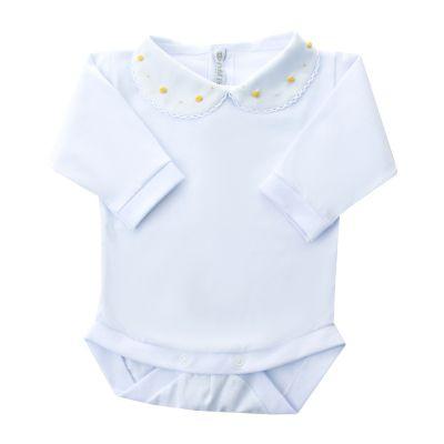 Body bebê rococó flor e poá - Branco e amarelo