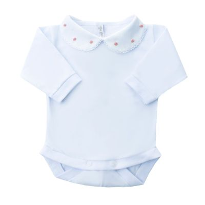 Body bebê rococó flor - Branco e rosa