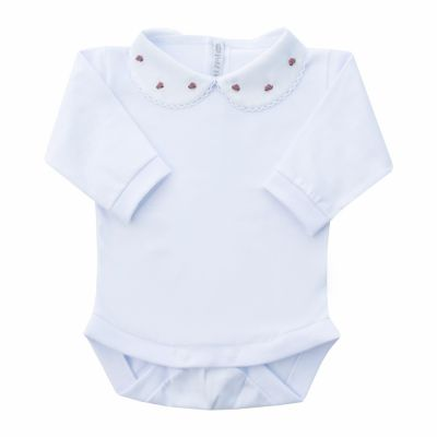 Body bebê rococó flor - Branco e rosê