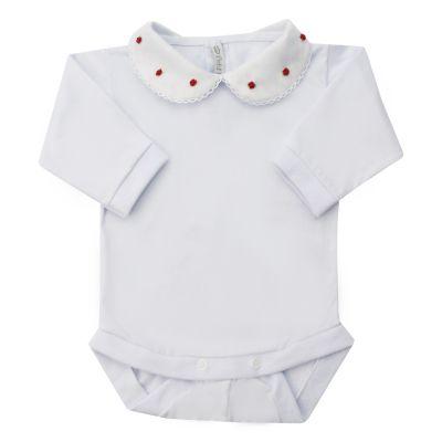 Body bebê rococó flor - Branco e vermelho