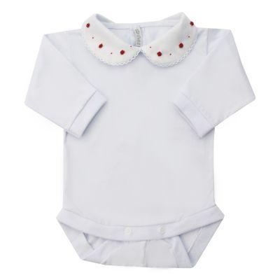 Body bebê rococó flor e poá - Branco e vermelho
