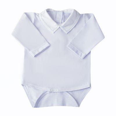 Body bebê treliça - Branco e azul bebê