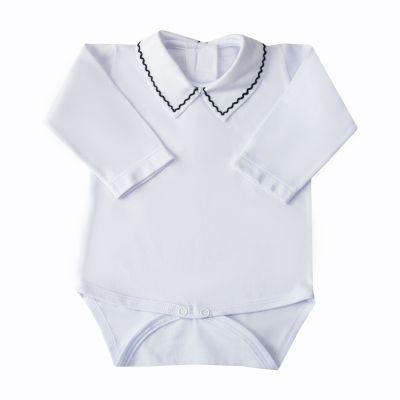Body bebê treliça - Branco e azul marinho