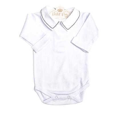 Body bebê treliça com punhos - Branco