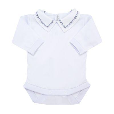 Body bebê triângulo - Branco e azul marinho
