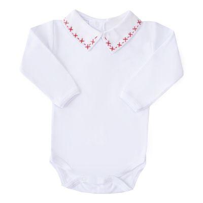Body bebê x e traço - Branco e vermelho
