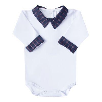 Body bebê xadrez - Branco e azul