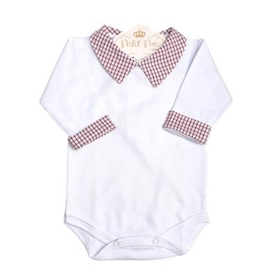 Body bebê xadrez - Branco e vermelho