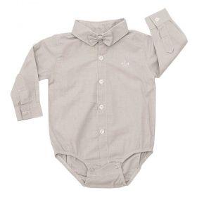Body camisa bebê manga longa com gravata removível - Cinza claro