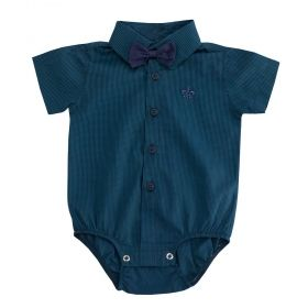 Body camisa bebê manga curta xadrez com gravata removível - Verde/Azul marinho