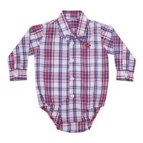 Body camisa bebê manga longa com gravata removível - Xadrez