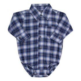Body camisa bebê masculino xadrez - Azul marinho