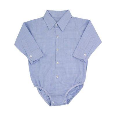 Body camisa bebê xadrez - Branco e azul bebê