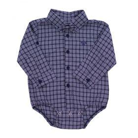 Body camisa bebê xadrez com gravata - Cinza