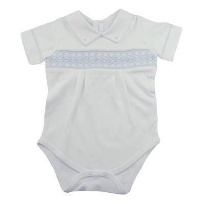 Body manga curta gola polo - Branco e azul bebê