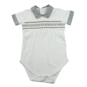 Body bebê manga curta gola polo - Branco e cinza