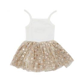 Body vestido bebê  - Marfim