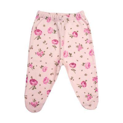 Calça bebê com pé floral - Rosa bebê
