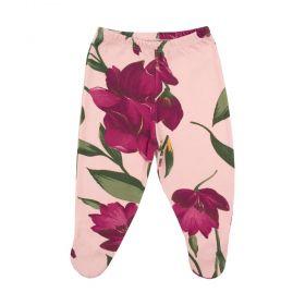 Calça bebê com pé floral - Rosa e marsala