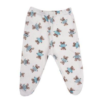Calça bebê com pé ursinho - Branco e azul bebê