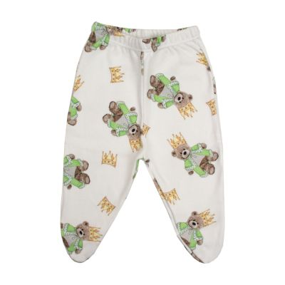 Calça bebê com pé ursinho - Branco e verde