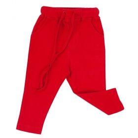 Calça bebê em malha com amarração - Vermelho