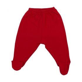 Calça bebê em malha com pé - Vermelho