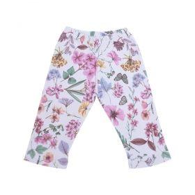 Calça bebê floral - Branco e rosa