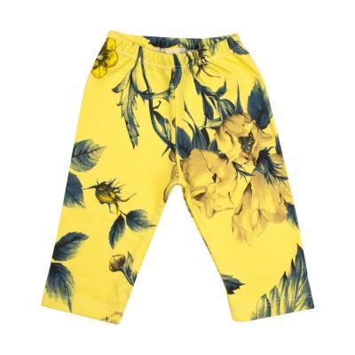 Calça bebê sem pé floral - Amarelo